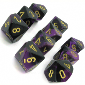 Black & Purple Gemini D10 Ten Sided Dice Set